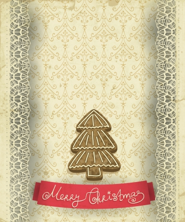 christmas cookie: Old paper napkin with lace borders, Christmas tree cookie and patterned background and red ribbon, Christmas background with space for text
