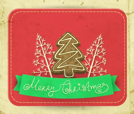 christmas cookie: Green ribbon and 3 stylized fir trees- one cookie and two made of paper, Christmas background with old paper texture