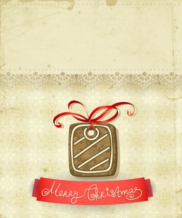 christmas cookie: Old paper napkin with lace border,  Christmas cookie - gift with bow, red ribbon and patterned background with snowflakes, Christmas background with space for text