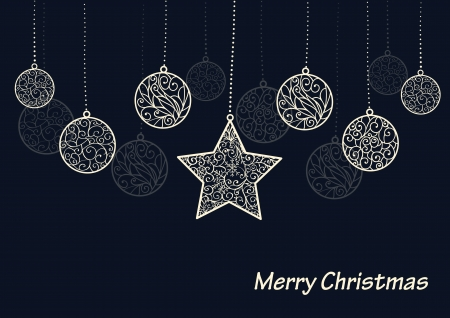 Winter background, white baubles and star on black  background, Christmas card Ilustracja