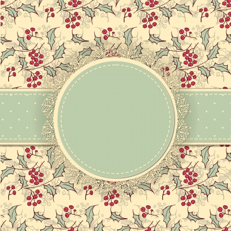 Round label with lace border and dotted ribbon on patterned background with holly berries and leaves, Christmas background Stock Illustratie