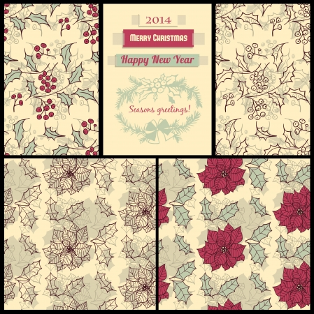 Set of 4 seamless patterns with holly berry and poinsettia flower, paper pieces and decorative fir frame, Christmas patterns Vector