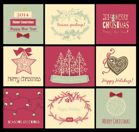 Set of 9 Christmas cards with bows, frames, fir trees, ornaments, star, lights and cookie Vector