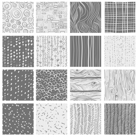 Set of 16 seamless patterns and textures- hearts, circles, dots, wood; textile, waves Vector