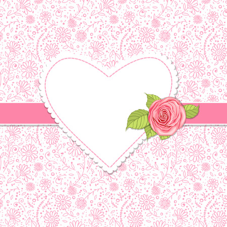 Heart shaped label, pink rose and ribbon on patterned background with hand - drawn daisies, Valentine day illustration Vector