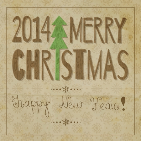 Christmas and New year lettering with wooden texture on grunge snowflake pattern background Vector