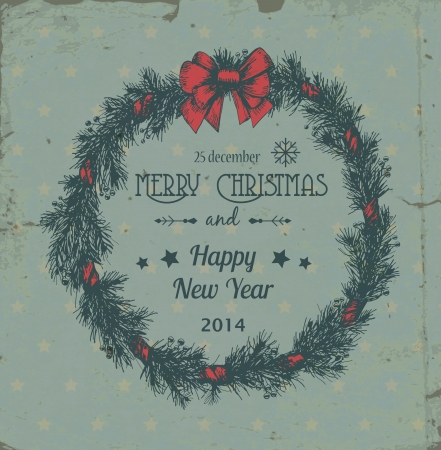 christmas wreath: Hand - drawn Christmas wreath made of fir branches and holly berries tied with red bow on grunge patterned background with stars