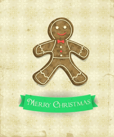 Gingerbread man and green ribbon on patterned background with snowflakes and old paper texture, Christmas illustration Vector