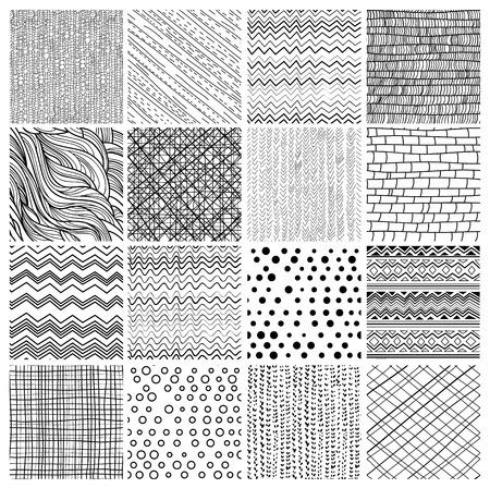 dekorativa mönster: Set med 16 geometriska sömlösa mönster och textures- sicksack, prickar, textil, vågor, tegel Illustration