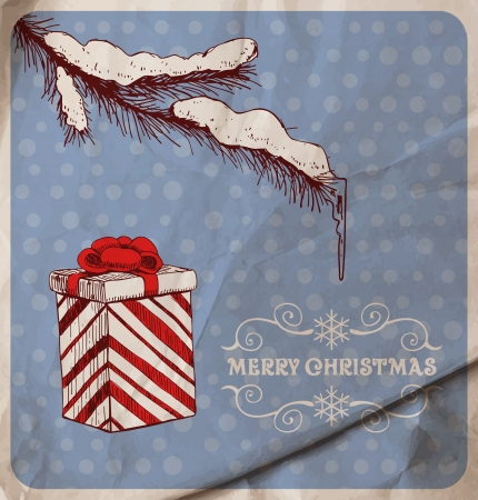 icicle: Hand-drawn fir branch covered with snow and icicle and gift on blue dotted  background with old wrinkled paper texture