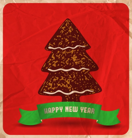 christmas cookie: Hand-drawn  Christmas cookie tree, green ribbon on  red background with old wrinkled paper texture