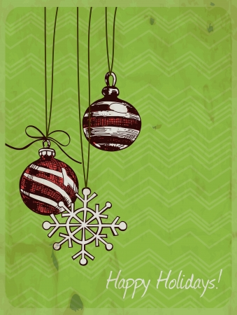 2 hand - drawn red baubles and snowflake ornament on green geometrical background with  old paper texture, Christmas background