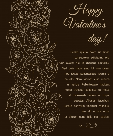 hand drawn rose: Hand - drawn rose border on dark brown background, Valentine day card Illustration