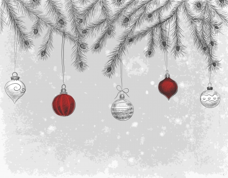 pine cone: Hand - drawn  fir branches decorated with baubles and teardrops on grunge background, Christmas illustration Illustration