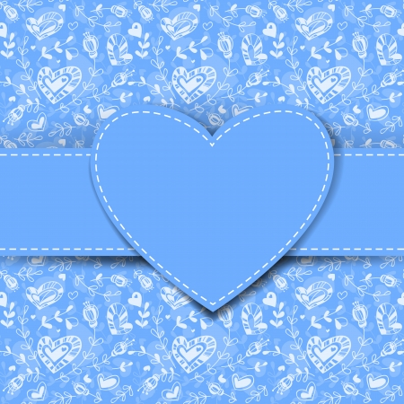 Blue heart label  on hand- drawn floral background, Valentine day illustration   Vector
