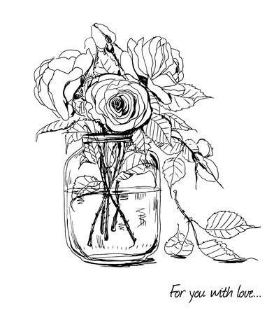 mazzo di fiori: Bouquet di rose disegnate a mano in vaso di vetro Vettoriali