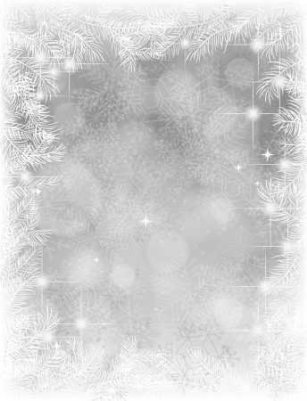 Frame of fir branches on gray background with snowflakes and lights, Christmas illustration Stock Illustratie