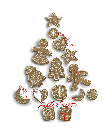 chocolate box: Christmas cookies - gingerbread man, tree, star, moon, heart and tree - forming stylized Christmas tree