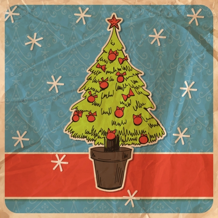 crumpled paper ball: Hand - drawn Christmas tree decorated with red baubles with bows and snowflakes on patterned background with old crumpled paper texture