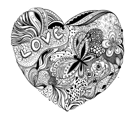 love letters: Hand - drawn heart made of flowers, petals, butterflies, leaves and patterns, letters love, Valentine day illustration