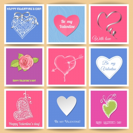 Set of 9 Valentine day paper cards with various hearts, ribbons and rose Vector