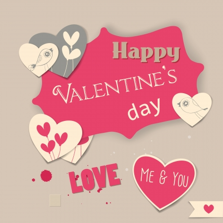 Valentine day scrapbook illustration, label and heart shaped cards with hand - drawn birds and hearts Vector