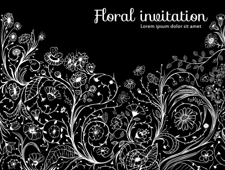 Hand - drawn decorative floral background with various type of flowers, leaves and weeds, black and white illustration