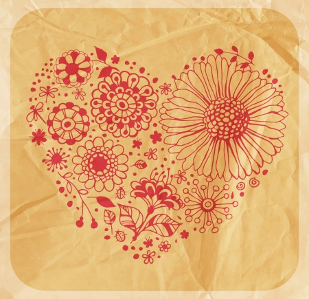 Heart made of various decorative flowers , hand - drawn illustration with old crumpled paper texture Vector