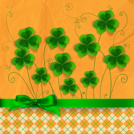 St. Patrick day card, clovers on orange with hand - drawn floral ornaments and stylized butterflies, green bow and checked pattern, old crumpled paper texture Vector