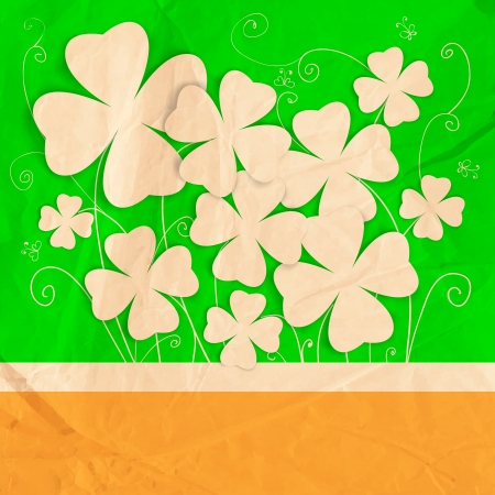 St. Patrick day card, bouquet of stylized paper four - leaf clovers on orange - green with hand - drawn floral ornaments and old crumpled paper texture Vector