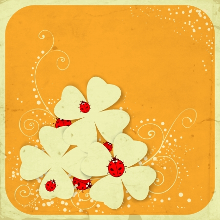 fortune flower:  St. Patrick day card, three four leaf paper clovers and ladybugs on orange with frame and hand - drawn floral ornaments