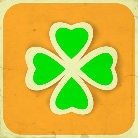 St. Patrick day card, big paper clover and frame frame on orange  with old paper texture Vector