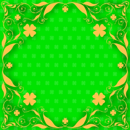 St. Patrick day card, orange floral frame with clovers on green with clover pattern Vector