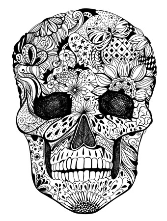 Human skull with hand- drawn flowers, butterflies, floral and geometrical patterns, tattoo design, black and white illustration for the day of the dead Vector