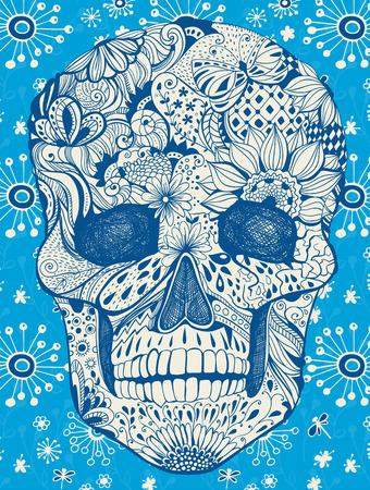 morto: Cr�nio humano com flores desenhadas � m�o, borboletas, estampas florais e geom�tricas em floral, ilustra��o para o dia dos mortos Ilustração