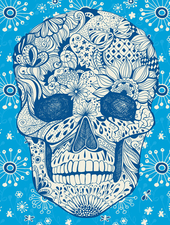 Human skull with hand- drawn flowers, butterflies, floral and geometrical patterns on floral, illustration for the day of the dead