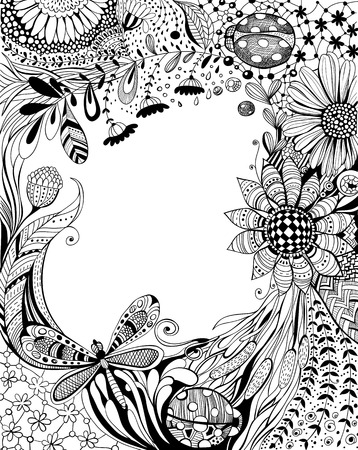 Abstract hand - drawn floral with decorative flowers, leaves, grass, dragonfly, ladybugs and floral and geometrical patterns, black and white design with space for text Vector