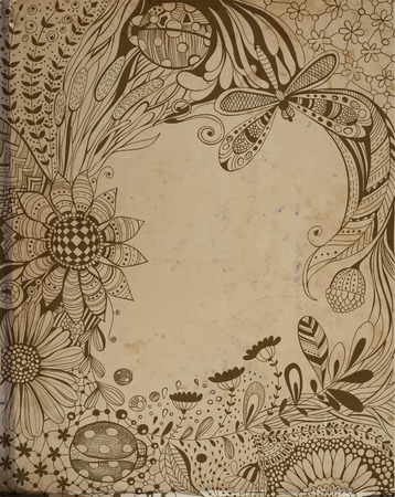 Abstract hand - drawn floral with decorative flowers, leaves, grass, dragonfly, ladybugs and floral and geometrical patterns,  space for text and old paper texture Vector