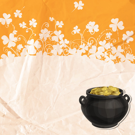 St. Patrick day card with old crumpled paper texture, pot full of gold and silhouettes of clovers and floral ornaments  on orange background  pot full of gold  Vector