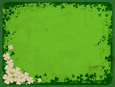 white clover: St. Patrick day card, grunge frame with clover silhouettes, white paper clovers and old paper texture