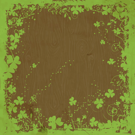 St. Patrick day card, grunge green floral frame with clovers on wooden background with old paper texture Vector