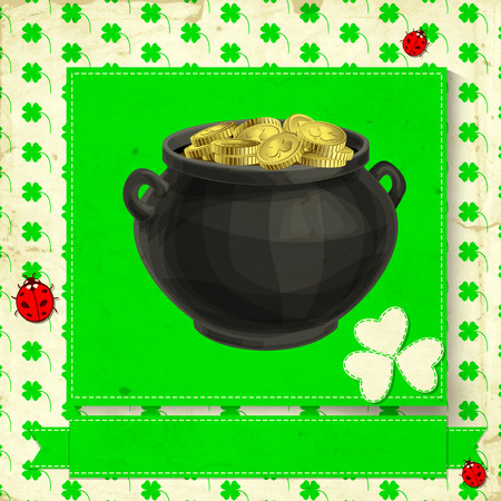 St. Patrick day card, pot full of gold on green card, white paper clover, green ribbon and three ladybugs on white background with green clovers pattern and old paper texture Vector