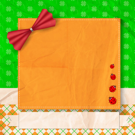 St. Patrick day card,orange card decorated with red bow and four ladybugs, white paper ribbon with space for text on patterned background with old crumpled paper texture Vector