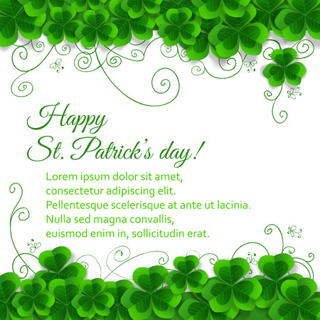 three leaf clover: St. Patrick day card, clover borders with hand - drawn floral ornaments and stylized butterflies on white background Illustration