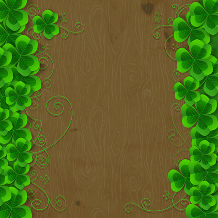 St. Patrick day card, clover borders with hand - drawn floral ornaments and stylized butterflies wooden background Vector