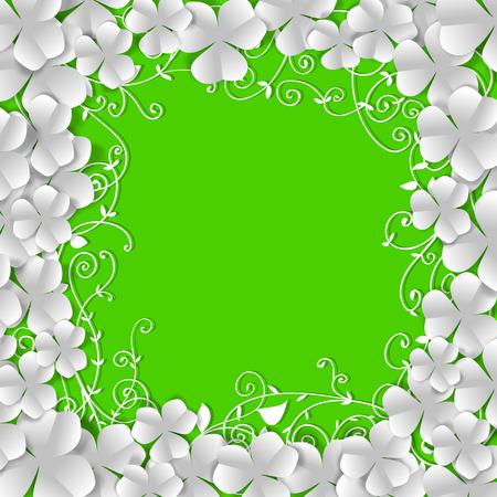 聖パトリックの日カード、ホワイト ペーパー クローバーとテキストのためのスペースと緑の背景の花飾り製フレーム  イラスト・ベクター素材