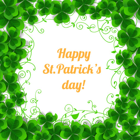 three leaf clover: St. Patrick day card, frame made of clovers and floral ornaments on white background Illustration