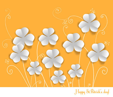 fortune flower: St. Patrick day card, white paper clovers on orange background with hand - drawn floral ornaments and stylized butterflies Illustration