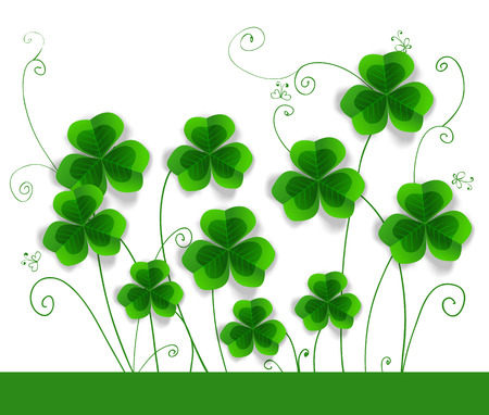 St. Patrick day card,  clovers on white background with hand - drawn floral ornaments and stylized butterflies Vector