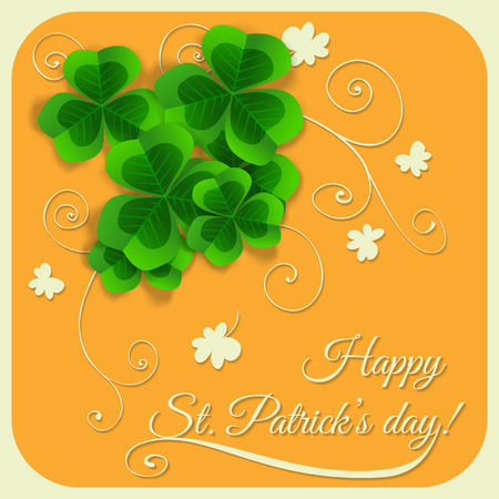 fortune flower:  St. Patrick day card, bunch of clovers on orange with  hand - drawn floral ornaments white paper clovers